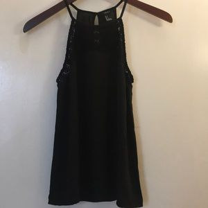 Forever 21 flowy black tank with detailing